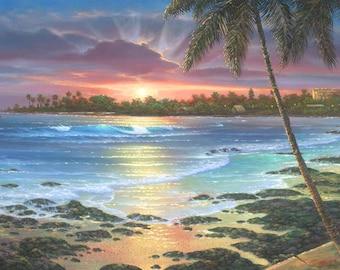 Kona Inn Sunset Giclee - Hawaii - Kailua Kona - Seascape - Beach Life