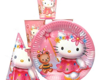 Hello Kitty paper tableware. Paper plates, cups and party hats for children's birthday. Hello Kitty Set for children's party.