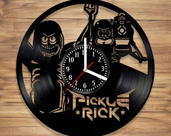 Pickle Rick Vinyl Wall Clock Rick and Morty Sanchez Adult Animated Comedy Perfect Decorate Home Style UNIQUE GIFT idea Him Her (12 inches)