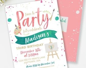 Art Party Invitation, Art Birthday Invitation, Girls Birthday Party, Painting Party, Watercolor Invite, Paint Party Invite, #77