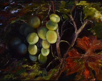 Grapes. Still life. Original oil painting.