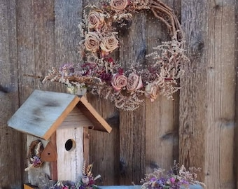 Dried Floral Wreath and Birdhouse Set, Natural Floral Garden Gifts, Fragrant Floral Birthday Gifts, Mother's Day Garden Gift Set