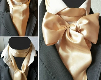 Lemon Gold Satin Cravat Self Tie Neck Jabot Victorian Steampunk Theatre Wedding Races Ascot Multi Way Dandy TC1
