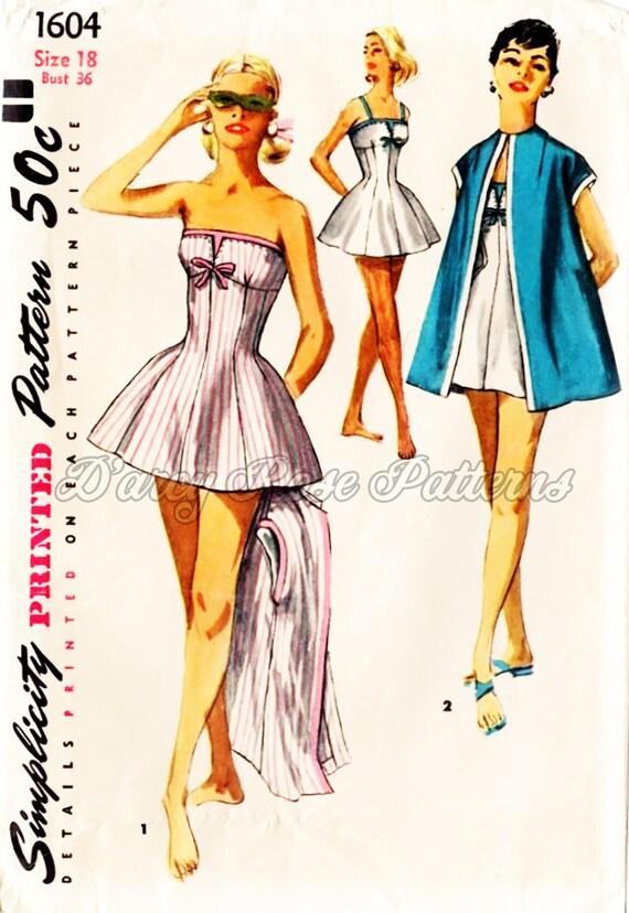 Vintage Badeanzug Nähen Muster Einfachheit 1604 Misses\'