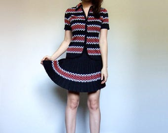 Two Piece Set Tennis Outfit Retro Dress Vintage Clothing Pleated Mini Skirt Knit Short Sleeve Button Up Top Cardigan - Extra Small XXS XS