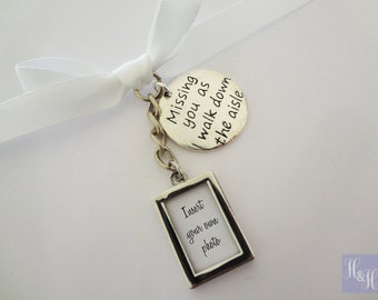 DIY Double Sided Blank Wedding Bouquet Photo Memory Charm with - 'Missing you as i walk down the aisle' charm