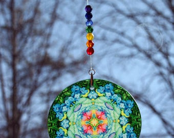 Mandala Suncatcher Rainbow Rose Chakra Boho Sacred Geometry Hippie Kaleidoscope Meditation Zen Unique Gift For Her Kaleidoscopic Symphony