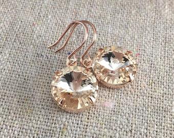 Swarovski Crystal Earrings, Rose Gold Earrings, Champagne Gold Earrings, Dangling Crystal Earrings, Bridesmaids Gifts, Bridal Earrings