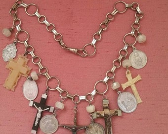 ROSARIES AND CROSSES beautiful vintage antique assemblage necklace