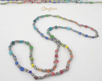 Rainbow Storm - A unisex rainbow necklace with glass, stone and crystal beads. Rainbow Necklace. Colourful Beads. Handmade in Ibiza.