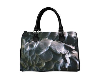 Black feathers purse swan print handbag photo bag barrel shoulder inside pocket alternative unusual