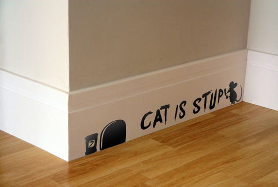 Cat is Stupid, Wall Decal, Graffiti, Mice, Silhouette, Cute, Adorable, Vinyl, Decal, Sticker, Interior design, Funny Decal, Christmas Gift