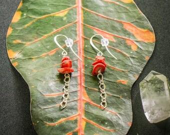 red corral earrings