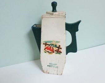 Handmade Soap Powder Dispenser Pitcher, Rare 1940s Tall Wooden Primitive Teapot with Dutch Girl Decal & Soap Kettle Stencil