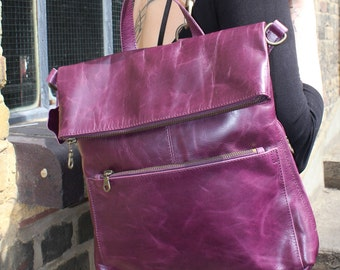 Amelie Ruck Purple Leather Convertible Backpack