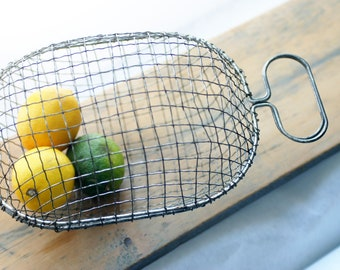 Wire Mesh Basket with Handle - Made in England - Vintage - Opens in Two - Shabby Chic Decor - Egg Basket - Country Wedding