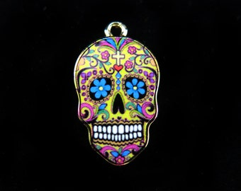 LOW Stock - Imitation Gold Plated Colorful Sugar Skull Charms (2x) (K309-A)