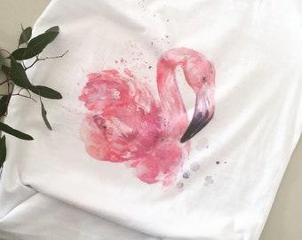 Flamingo T-Shirt |Women's organic clothing | Aquarelle technique