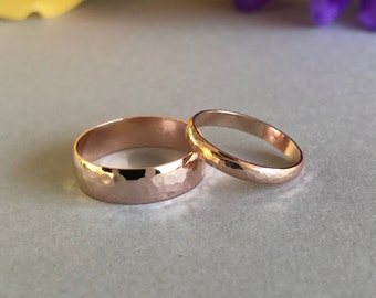 His And Hers Rose Gold Band, Sterling silver Hand Hammered Rose Gold Plated Wedding And Anniversary Band, Rose Gold Ring