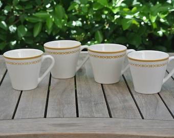 Honeycomb Design Syracuse Syralite Mugs - Set of 4 - Vintage