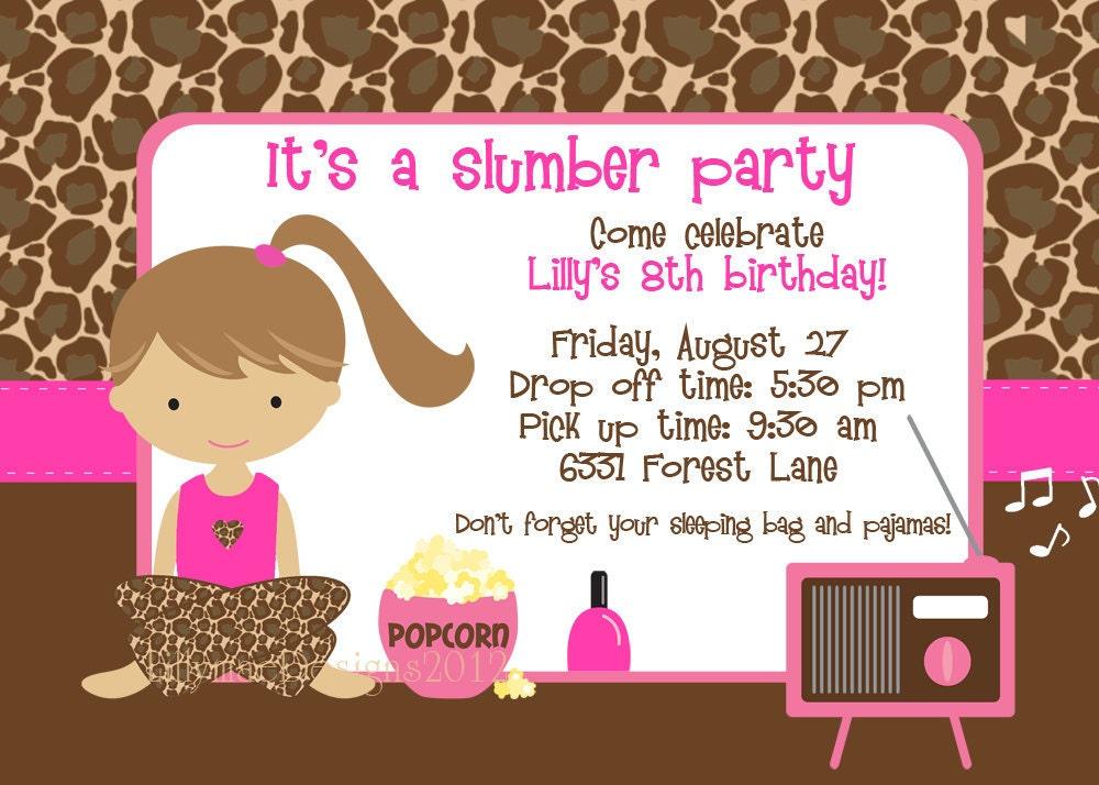 Slumber Party Invitation Pajama Party Sleepover Party