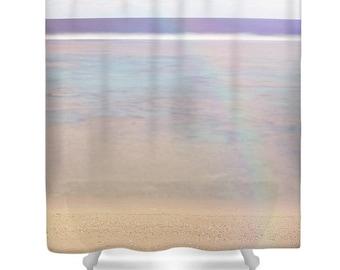 Ocean shower curtain, beach shower curtain, blue bathroom decor, ocean bathroom, blue, white, blue shower curtain, photo shower curtain,sand