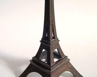 """Vintage Eiffel Tower Paris France Souvenir Metal Building 6.5"""" Tall"""
