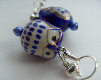 Lovely, ceramic, Owl, blue and white,love heart,  earrings, cobalt blue, white, by NewellsJewels on etsy