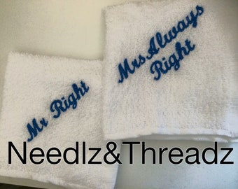 Mr Right, Mrs Always Right Face cloth set