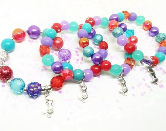 Ariel The Little Mermaid bracelets party favors in organza bags with special birthday girl bracelet!