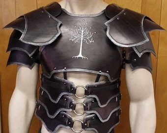 Leather Armor Dark Talon Chest Back & Shoulders with graphic