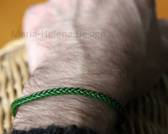 green, navy blue, or black leather weave slim bracelet