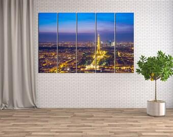 Large Paris Eiffel Tower canvas wall art print 3 or 5 panels, Paris wall art poster, Eiffel Tower poster, Eiffel Tower wall decor