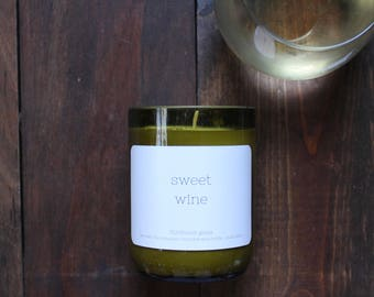 Wine candle // Wine bottle candle // Sweet Wine // Small batch candle // Soy candle