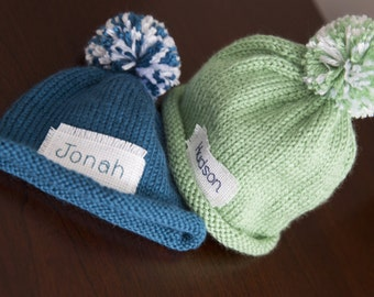 Baby Announcement, Baby Boy Hat, Knit Baby Hat, Personalized, Newborn Hat, Baby Girl Hat, Preemie, monogrammed name, baby, Preemie/12 Month