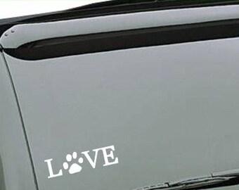 Love paw print vinyl car decal