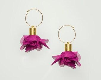 Statement Jewelry Statement Earrings Small Hoop Earrings Floral Earrings Boho Earrings Gold Earrings/ CICITA