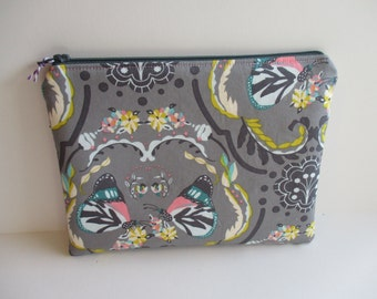 Butterfly Painted Ladies Zipper Pouch Makeup Cosmetic Bag Art Gallery Emmy Grace