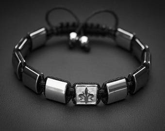 Men's Bracelet, Fleur De Lis Bracelet, Flat bead Bracelet, Macrame Bracelet, Jewelry For Men and Women, Braccialetto, pulsera, armband