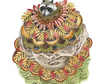 """Quilted Forest: The Raccoon // 8""""x10"""" Art Print - Forest Illustration"""