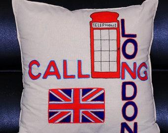 Handmade London Phonebox Cushion Cover