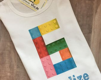 Lego Birthday Shirt with name and number boy or girl