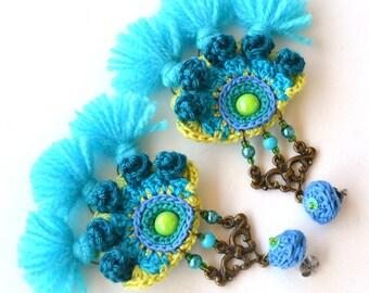 teal earrings, blue green earrings, colorful festival earrings, mexican earrings, large tassel earrings, neon earrings, funky earrings