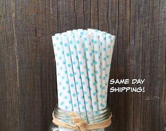 Blue Paper Straws, Blue Dot Straws, 100 Straws, Light Blue Straws, Baby Shower Straws, Birthday, Paper Straws, Free Shipping
