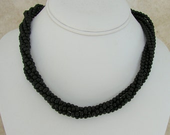 "Napier Black Glass Twisted Bead Necklace 16"" Goldtone Clasp"