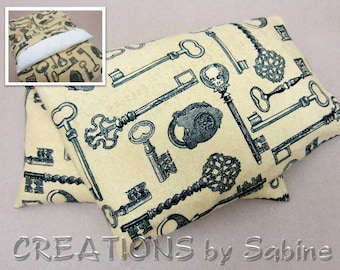Corn Heating Pack, Pillow Washable Cover Heat Bag Therapy flannel skulls steampunk skeleton key padlock keys Gift READY TO SHIP (430)