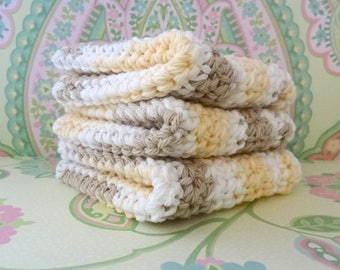 Crochet White, Yellow & Beige Wash Cloths/Face Cloths/Bath Cloths/Kitchen Cloths/Dish Cloths, Set of 3 - 100% Cotton - Ready to Ship
