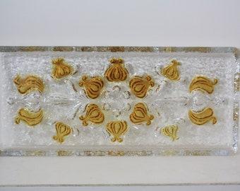 Vintage rectangular fused glass platter, 1970, cookie plate,