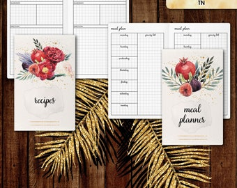 Pocket TN inserts | Menu planner: meal plan, recipes (tn pocket inserts,  travelers notebook, field notes inserts)