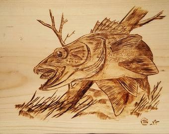 Walleye wood burn